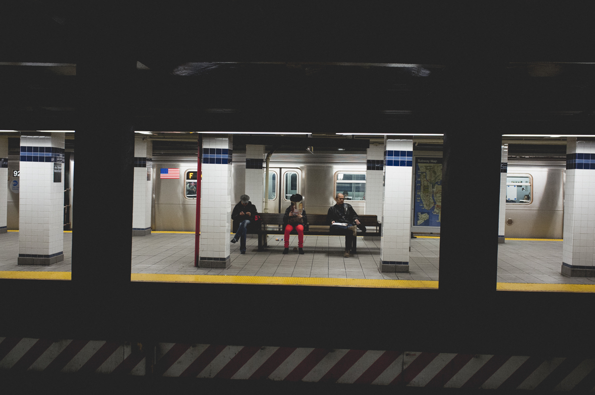 waiting for the train in nyc